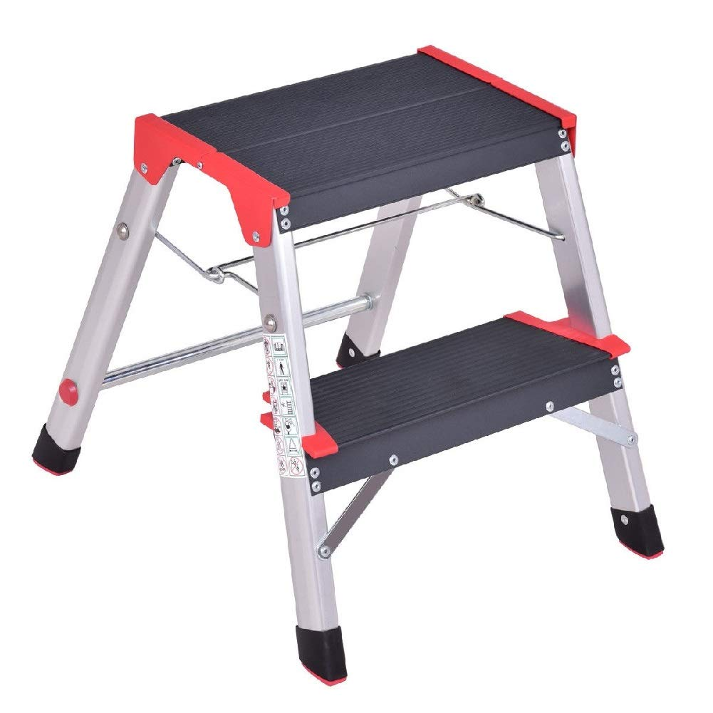 Non-Slip Platform Stool Foldable Retail Stores 2-Step Ladder Tool Folding Steel Lightweight