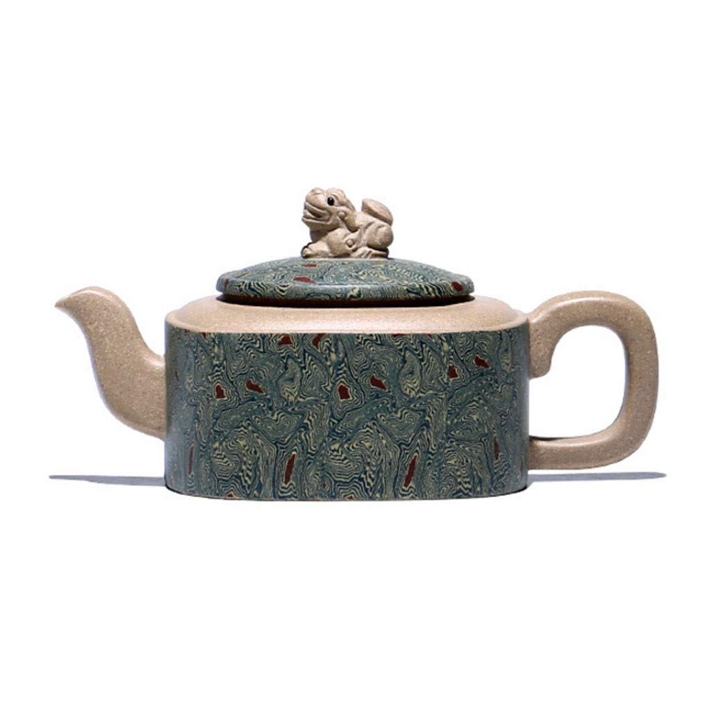 Tea Cozies Zisha Pot Pure Handmade Home ore Section mud Sifang Xiangrui Zhoupan teapot Kung Fu teapot Set Non-Ceramic Original Mine Dahongpao Squirrel Pot (Color : Green, Size : 14x7cm)