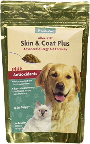 NaturVet Aller-911 Skin & Coat Plus Advanced Allergy Aid Formula Plus Antioxidants For Dogs and Cats, 9 oz Powder, Made in USA