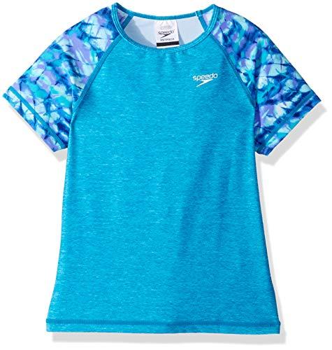 Speedo Short Sleeve Printed Short Sleeve Rashguard Shirt, Lavender Purple, Large