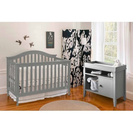 Lolly and Me Bailey 4-in-1 Fixed Side Convertible Crib, Grey