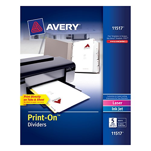 Avery Print-On Dividers, White, 5 Tabs, 25 Sets (11517)