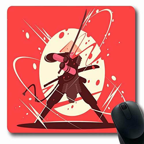 Ahawoso Mousepads Drawing Fight Battle Samurai Katana Martial Artwork Ninja Sword Fighter Combat Pose Character Warfare Oblong Shape 7.9 x 9.5 Inches Non-Slip Gaming Mouse Pad Rubber Oblong -