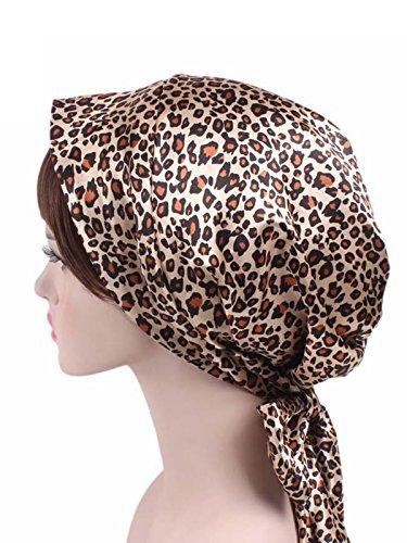 (Zando Women Soft Chemo Headscarf Satin Sleeping Bonnet Curly Hair Wrap Hair Loss Turban Hat Leopard Print One Size)