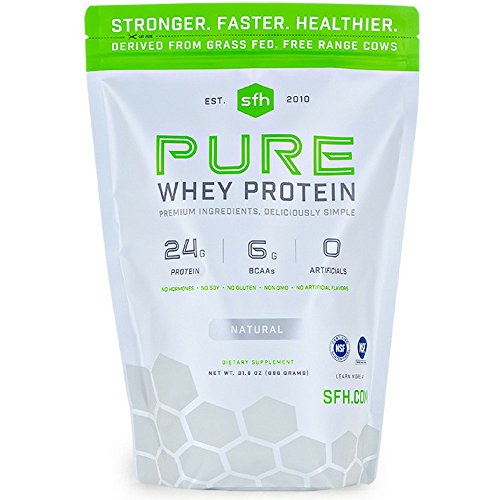 Pure Whey Protein Powder (Natural Unflavored) by SFH | Best Tasting 100% Grass Fed Whey | All Natural | 100% Non-GMO, No Artificials, Soy Free, Gluten Free (Natural, 2 Pound Bag)