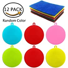 Antibacterial Silicone Dish Sponge and Scouring Pads For Bonus - For Scrubbing Dishes, Pots & Pans Cleaning - Eco Friendly - Non Scratch - BPA Free - Multi Purpose - by abZON ( Pack of 12)