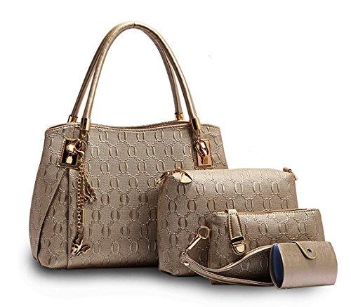 Tibes Stylish Faux Leather Top Handle Purse 4pcs set Satchel Handbag Golden