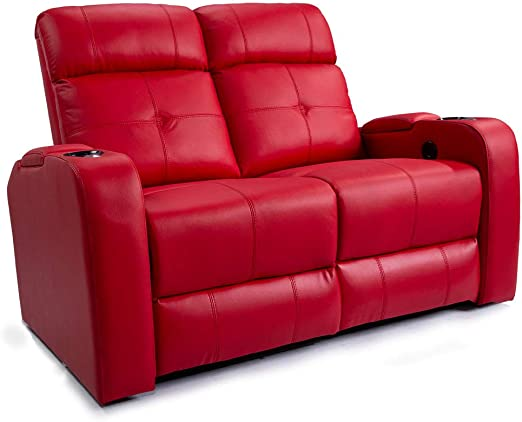 Valencia Verona Premium Top Grain 9000 Leather Power Recliner LED Lighting Home Theater Seating (Row of 2 LoveSeat, Red)