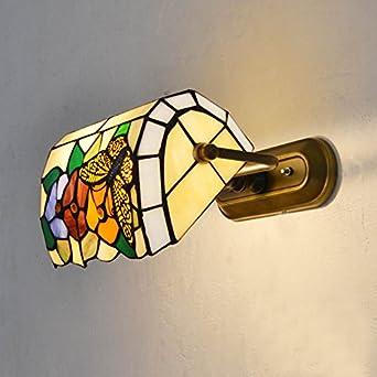 mariposa flores vidrieras tiffany lmparas de pared dormitorio bedsides metal corredor pasillo porche lmparas de pared - Lamparas De Pared