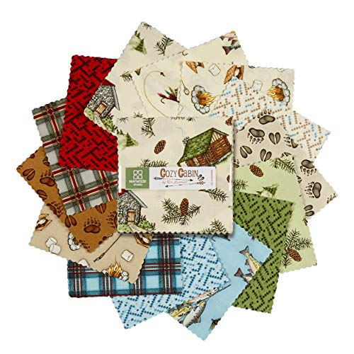 Maywood Studio Cozy Cabin 5'' Charms 42 Pcs Fabric,, used for sale  Delivered anywhere in USA