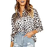 GIFC Clearance Womens Casual Leopard Print Front Pocket Button Up Long Sleeve Fashion Ladies Shirts Tops Blouses
