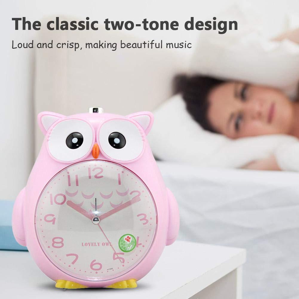 Eule Dekorative Uhr Mit Nachtlicht Und Snooze ABS Kunststoff Cartoon Doppel Wecker F/ür Kinder Jugendliche Student Schlafzimmer Kinder Wecker