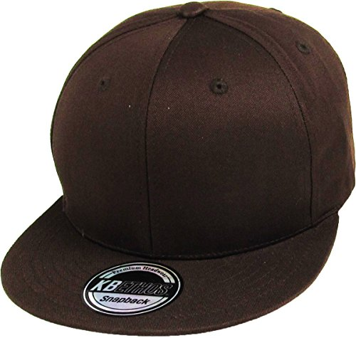 KBETHOS KNW-1467 BRN Cotton Snapback Solid Blank Cap Baseball Hat Flat Brim