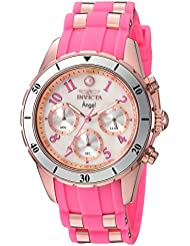 Invicta Womens Angel Quartz Stainless Steel and Silicone Casual Watch, Color:Pink (Model: 24900)