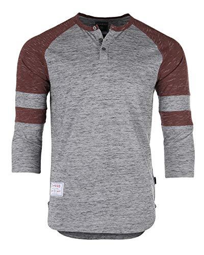 (ZIMEGO Men's 3/4 Sleeve Baseball Football College Raglan Henley Athletic T Shirt Grey Maroon)