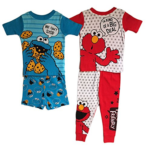 AME Sesame Street Cookie Monster & Elmo Baby Boys Cotton Pajama Set (24 Months)