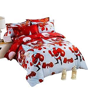 YOUSA Christmas Bedding Set Santa Claus Duvet Cover Set