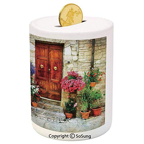 SoSung Tuscan Ceramic Piggy Bank,Colorful Flowers Outside Home in Italian Hilltown Assisi Rustic Door Image 3D Printed Ceramic Coin Bank Money Box for Kids & Adults,Scarlet Orange Ivory