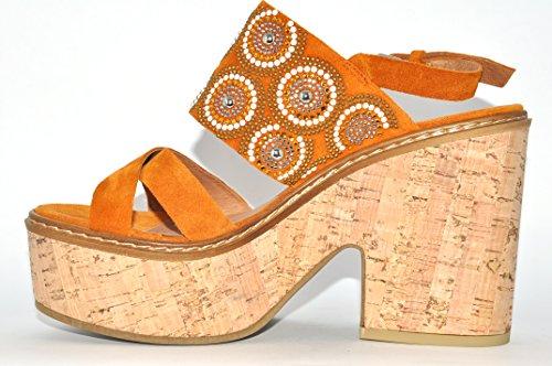 Sport Sandalo Colore ocra Janet Damba 39807 SqpHd8