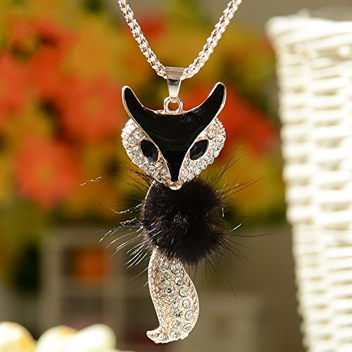 L.M.J. Axmerdal Black Soft Fox Fur Pendant Bib Long Chain Choker Necklace Charm Women Fashion Inlay Crystal Rhinestone Artificial Fox Head