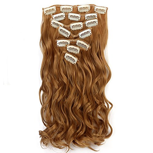 """Neverland Beauty 22""""7 Pcs 16 Clips Clip in Full Head Wavy Curly Hair Extensions Honey Blonde from Neverland Beauty & Health"""