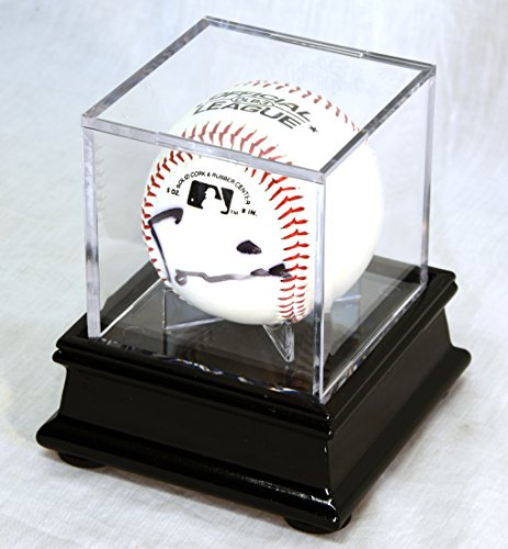 Single Baseball Cube Display Case Stand with 98% UV Ultra Pro Cube Included (Black Finish)