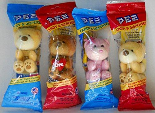 Pez Plush Teddy Bear Dispensers Key Chains Bundle - 4 Teddy Bear Dispenser Key Chains