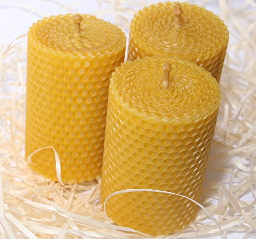 Pillar Candle Beeswax (Beeswax Candle Set of 3 Handmade Candles Best for Gift and Home Decor 100% Pure Quality)