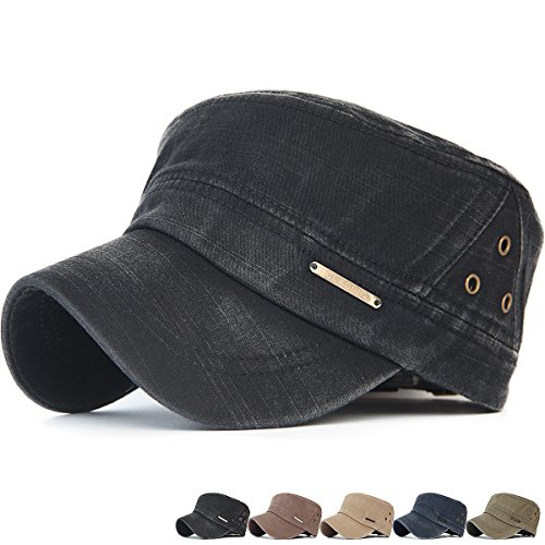 (Rayna Fashion Men Women Soft Washed Cotton Adjustable Flat Top Military Army Hat Cadet Cap Ventilation Eyelets)