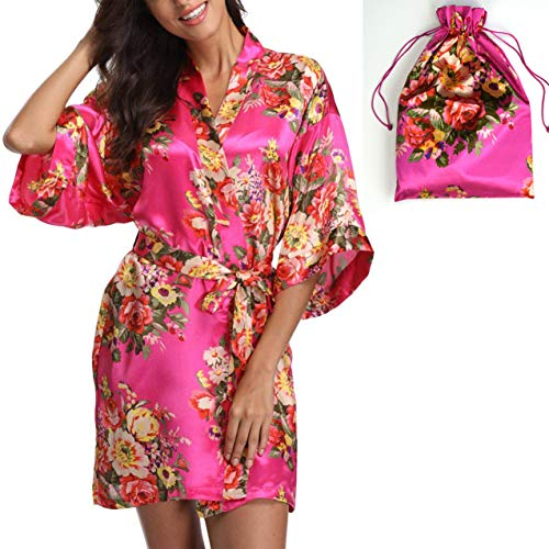 Silk Robes & Gift Pouches Set - Floral Satin Kimono Robe, Bridesmaid Gift, Bachelorette Bridal Party Getting Ready, Wedding Favor (Flower Girl (2-5 yo), Hot Pink)