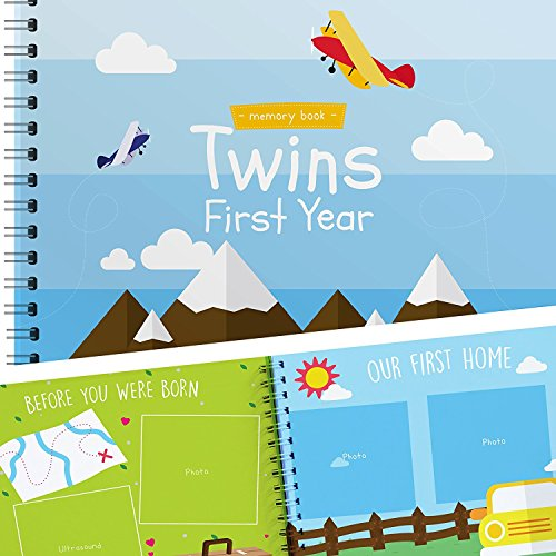 Twins First Year Hardcover Memory Book Airplanes Edition - Newborn Babies 1st Year Journal and Milestones Photo Album - Perfect and Unique Gift Idea for Baby Showers and Birthday ()