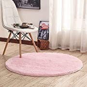 Junovo Upgrade Round Fluffy Soft Area Rugs for Kids Room Children Room Girls Room Nursery No-slip backing Rug, (4'x4') Pink Upgrade Version