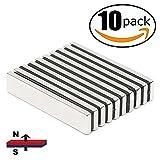 HTCARE Neodymium Bar Magnets,Super Strong Rectangular Block Neodymium Magnets,DIY, Building, Scientific, Craft,and Office Magnets,N52,60 x 10 x 5mm-10 pcs
