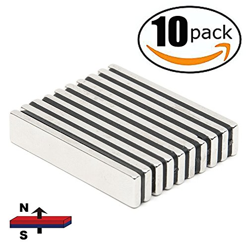 HTCARE Neodymium Bar Magnets,Super Strong Rectangular Block Neodymium Magnets,DIY, Building, Scientific, Craft,and Office Magnets,N52,60 x 10 x 5mm-10 (Art Rectangle Magnet)