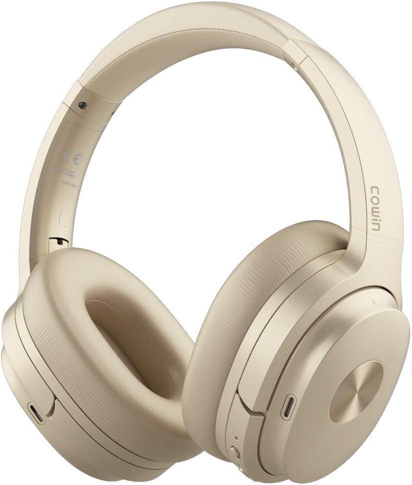 Cowin SE7 Auriculares inalámbricos Bluetooth con micrófono Hi-Fi de Graves Profundos, (Hi-Res Audio, cancelación de Ruido, Bluetooth,30 Horas de autonomía) (Dorado)