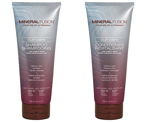 Mineral Fusion Curl Care Shampoo and Conditioner Bundle with Certified Organic Aloe Vera Leaf Juice, Malachite Extract, Smithsonite Extract, Linseed Oil, Olive Oil and Argan Oil, 8.5 fl. oz. each (Olive Oil Fusion)
