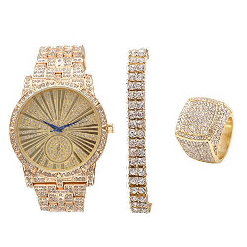 Bling-ed Mens Hip Hop Roman Numeral Dial Gold Tone Watch w/ 2 Row Bling-ed Out Tennis Bracelet and Matching Bling Ring - L0503G2RT3Set(11)