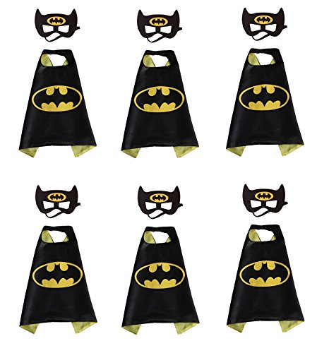 Rush Dance Kids Children's Deluxe Comics Super Hero CAPE & MASK PARTY 6 Pack (Captain 6 Pack Halloween Costume)