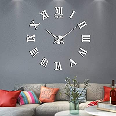 Vangold Large 3D DIY Wall Clock, 2-Year Warranty Roman Numerals Clock Frameless Mirror Surface Wall Sticker Home D¨¦cor for Living Room Bedroom
