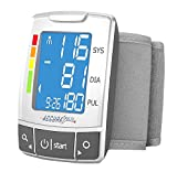 Automatic Wrist Blood Pressure Monitor Blood Monitor + 2AAA with Large LCD Display - FDA Approved (Silver)