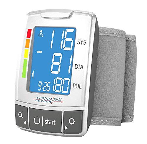 Automatic Wrist Blood Pressure Monitor Blood Monitor + 2AAA with Large LCD Display - FDA Approved (Silver) (Best Automatic Wrist Blood Pressure Monitor)