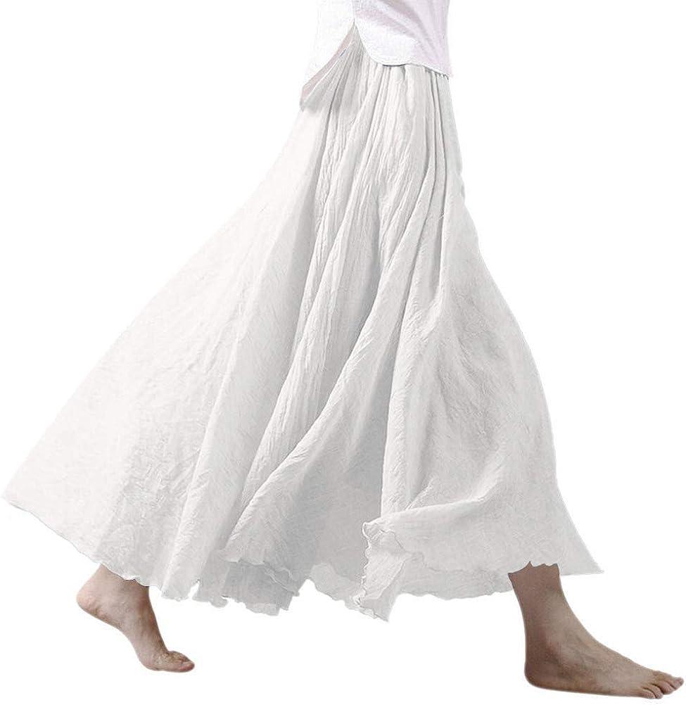 Ezcosplay Women Bohemian Cotton Linen Double Layer Elastic Waist Long Maxi Skirt at  Women's Clothing store