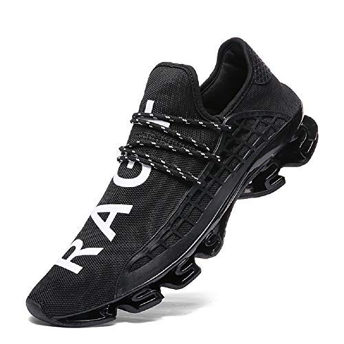 XIDISO Mens Walking Shoes Blade Lace-up Outdoor Sneakers Breathable Mesh Fashion Running Sports Shoe, 13 US Men/EU 47, Black