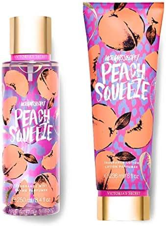 Victorias Secret Juice Bar Fragrance Mist and Lotion Set (2PC) New Summer Splash - 8.4 fl oz & 8 fl oz (Peach Squeeze)