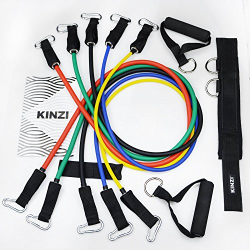 Kinzi Resistance Band Set With Door Anchor, Ankle Strap