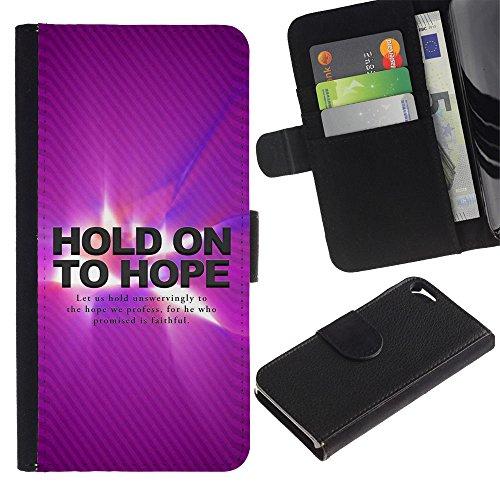 LASTONE PHONE CASE / Luxe Cuir Portefeuille Housse Fente pour Carte Coque Flip Étui de Protection pour Apple Iphone 5 / 5S / BIBLE Hold On To Hope