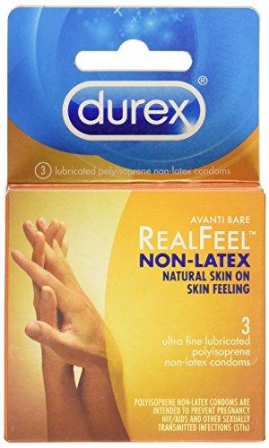 Durex Real Feel Polyisoprene Non Latex Lubricated Condoms, 3 Count