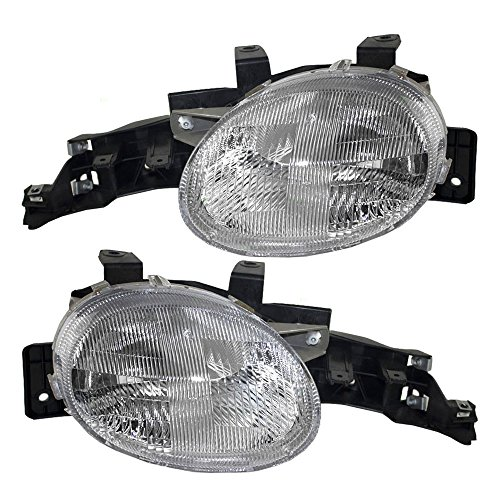 Driver and Passenger Headlights Headlamps Replacement for Dodge Plymouth 4761449AB 4761448AB AutoAndArt