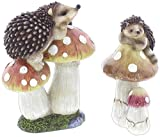Set of 2 Assorted Special T Imports Hedgehogs on Mushrooms Garden Figurines