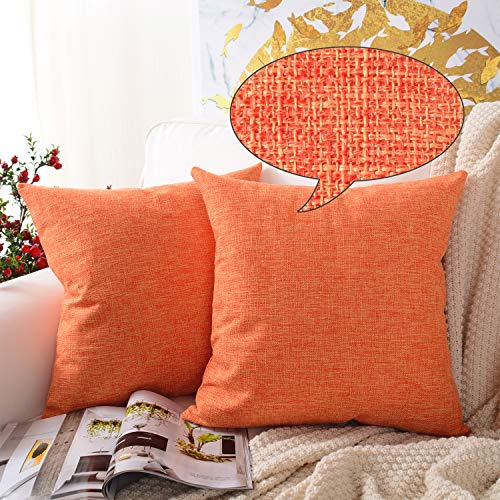 MERNETTE Pack of 2, Cotton Linen Blend Decorative Square Throw Pillow Cover Cushion Covers Pillowcase, Home Decor Decorations for Sofa Couch Bed Chair 18x18 Inch/45x45 cm (Orange) (Holiday Decorations Living Outdoor)